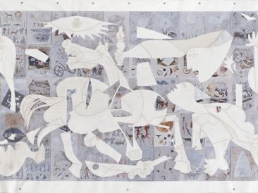 Gernika as always, print on canvas and acrylic painting, 193x442cm,, 2010.