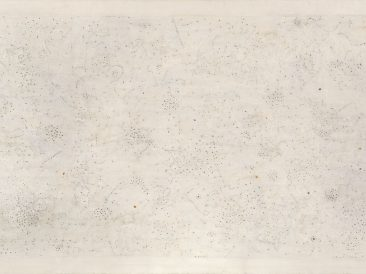 Life of whiteness, painting in preparatura-grund, 145x250cm, 2000.