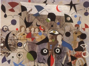 Miro 's eyeglasses, 173 x 170 cm, oil on canvas, 1995.
